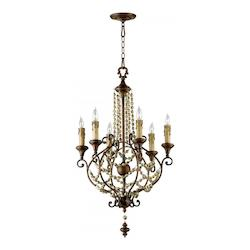 38in. Meriel Six Light Chandelier from the Lighting Collection