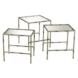 Antique Bronze 20in. Bamboo Nesting Tables