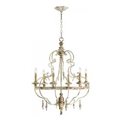 Persian White 6 Light Up Lighting Wrought Iron And Wood Chandelier