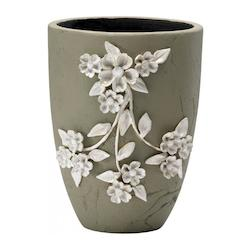 Smoked Grey / Frosted White 10.25In. Medium Lucy Planter