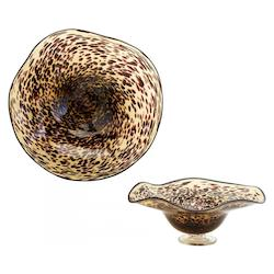 Black / Brown 19.75in. Large Leopard Art Glass Bowl