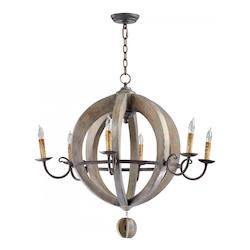 Stained Wood Barrel 6 Light 1 Tier Chandelier