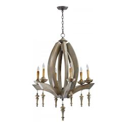 Stained Wood Manning 6 Light 1 Tier Chandelier