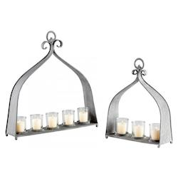 Rustic Gray Mobil Three Candle Candleholder