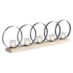 Raw Iron and Natural Wood Ohhh Five Candle Candleholder
