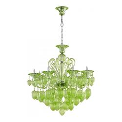 Green Bella Vetro 8 Light 1 Tier Chandelier