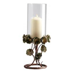 Bronze Patina Large Leigh Green Rose Candleholder