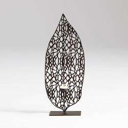 Graphite Small Tree Leaf Candleholder