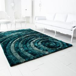 Bulls Eye Teal Girare Arte Blue 132In. X 85.2In. Rug