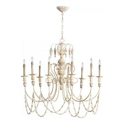 Persian White And Mystic Silver Florine 9 Light 1 Tier Chandelier