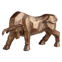 Acid Copper Raging Bull 4.5 Inch High Iron Figurine