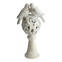 Sandstone Lovebirds 19.5 Inch High Cement Statue