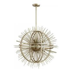 Silver Leaf Saturn Burst 8 Light Pendant with Gold Shade