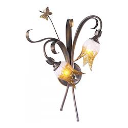 Venitian Iron 22.75in. Two Lamp Wall Sconce from the Papillion Collection