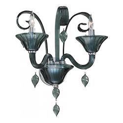 Two Light Chrome Indigo Smoke Murano Glass Wall Light