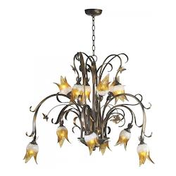 Twelve Light Venetian Iron Amber Frost Clear Glass Down Chandelier