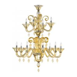 Twelve Light Chrome Amber Murano Glass Up Chandelier