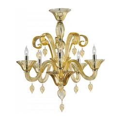 Five Light Chrome Amber Murano Glass Up Chandelier