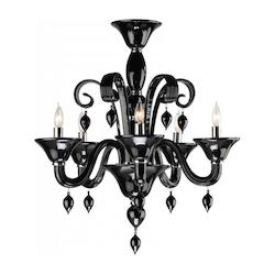 Five Light Chrome Black Murano Glass Up Chandelier