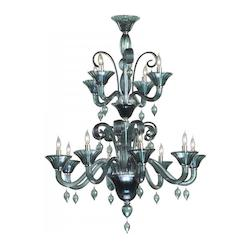 Twelve Light Chrome Indigo Smoke Murano Glass Up Chandelier