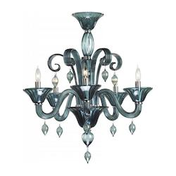 Five Light Chrome Indigo Smoke Murano Glass Up Chandelier