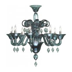 Eight Light Chrome Indigo Smoke Murano Glass Up Chandelier