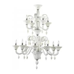 Twelve Light Chrome White Murano Glass Up Chandelier