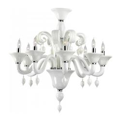 Eight Light Chrome White Murano Glass Up Chandelier