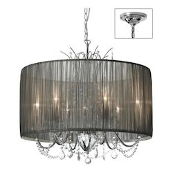 Six Light Chrome Drum Shade Pendant - 159196