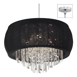 8Lt Crystal Chandelier Black Lycra Shd - 159292