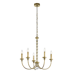 Natural Brass Rossington 1-Tier Chandelier with 5 Lights - 72in. Chain Included - 26 Inches Wide