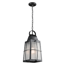 Textured Black Single Light Outdoor Pendant From The Tolerand Collection