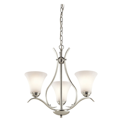 Kichler 43503NI Brushed Nickel Keiran 1-Tier Chandelier with 3 Lights  - 160232