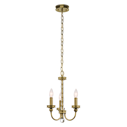 Kichler 43543Nbr Natural Brass Rossington 1-Tier Chandelier With 3 Lights
