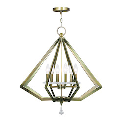 Antique Brass Diamond 6 Light 1 Tier Crystal Candle Style Chandelier
