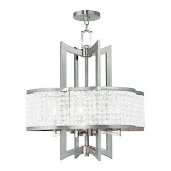Brushed Nickel Grammercy 4 Light 1 Tier Crystal Chandelier
