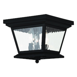 Black Hathaway 3 Light Outdoor Flush Mount Ceiling Fixture