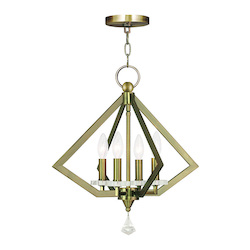 Antique Brass Diamond 4 Light 1 Tier Crystal Mini Chandelier