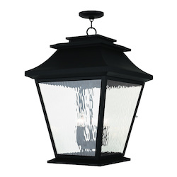Black Hathaway 5 Light Outdoor Lantern Pendant