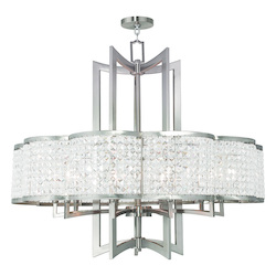 Brushed Nickel Grammercy 10 Light 1 Tier Crystal Chandelier
