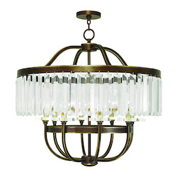 Hand Painted Palacial Bronze Ashton 8 Light 1 Tier Crystal Chandelier