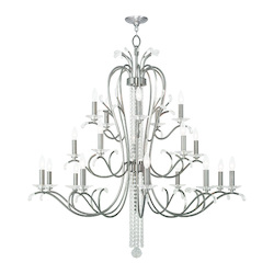 Brushed Nickel Serafina 20 Light 3 Tier Crystal Candle Style Chandelier