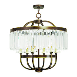 Hand Painted Palacial Bronze Ashton 6 Light 1 Tier Crystal Chandelier