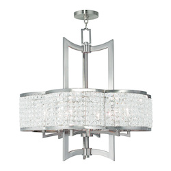 Brushed Nickel Grammercy 6 Light 1 Tier Crystal Chandelier
