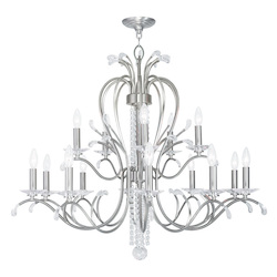 Brushed Nickel Serafina 15 Light 2 Tier Crystal Candle Style Chandelier