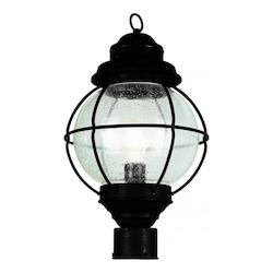 One Light Black Clear Seeded Glass Post Light