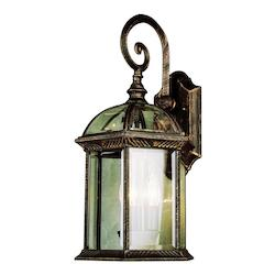 Three Light Black Clear Pentagon Glass Roof Glass Wall Lantern