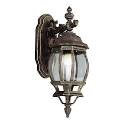 One Light Black Gold Clear Beveled Glass Wall Lantern
