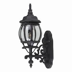 One Light Black Clear Beveled Glass Wall Lantern