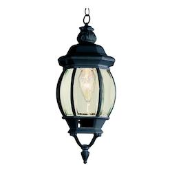 One Light Black Clear Beveled Glass Hanging Lantern
